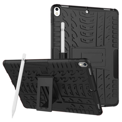 "Black Apple iPad Air 3 10.5"" Rugged Defender Hybrid Kickstand Case - 1"