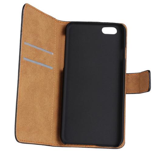 Black Genuine Leather Wallet Case for Apple iPhone SE 1st Gen (2016) - 1
