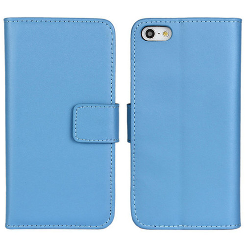Light Blue iPhone SE 1st Gen (2016) Genuine Leather Wallet Case - 1
