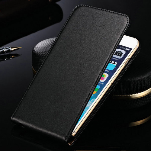 Black Genuine Leather Flip Case for iPhone SE 1st Gen (2016) - 1
