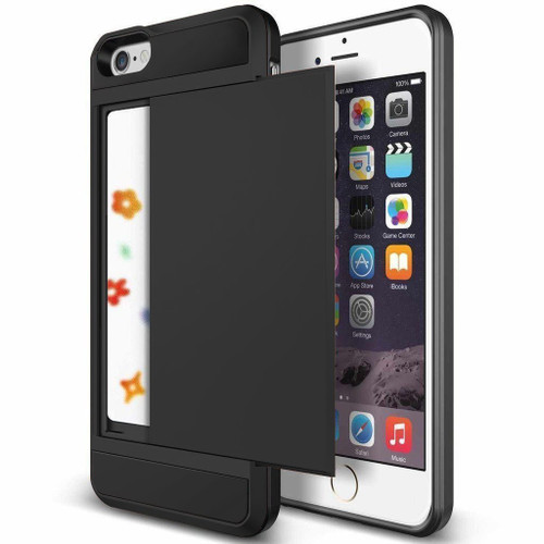Black Shock Proof Slide Card Armor Case For iPhone SE 1st Gen (2016) - 1