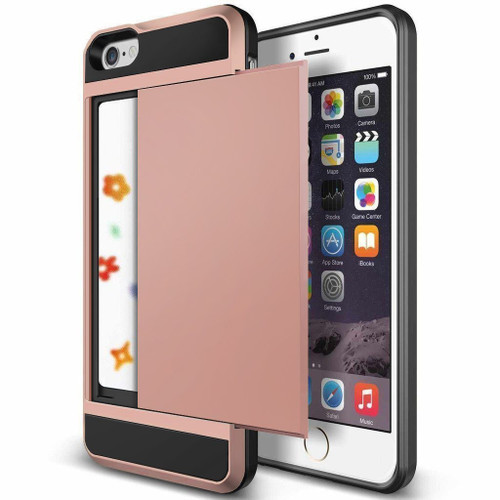 Rose Gold iPhone SE 1st Gen (2016) Shock Proof Slide Card Armor Case - 1