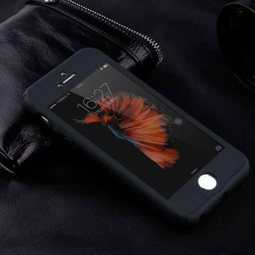 Black Full Body Ultra-thin + Glass Protector Case for iPhone SE 1st Gen - 1