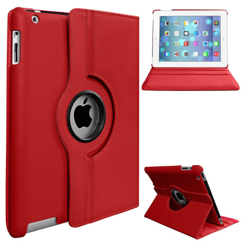 "Red 360 Rotating Smart Flip Case Cover for iPad 7th generation 10.2"" - 1"