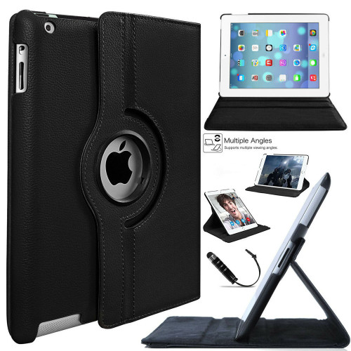 Black 360 Degree Rotating Synthetic Leather Case For iPad 2 / 3 / 4 - 1