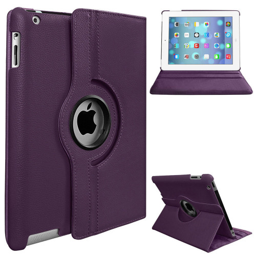 Purple Apple iPad 2 / 3 / 4 360 Degree Rotating Synthetic Leather Case - 1