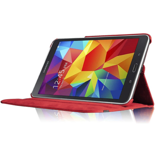 Red Galaxy Tab A 8.0 (2015) Sythetic Leather Rotating Case Cover - 1