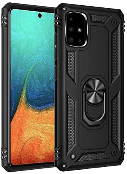 Black Galaxy A31 Slim Shock Proof 360 Rotating Metal Ring Stand Case - 1