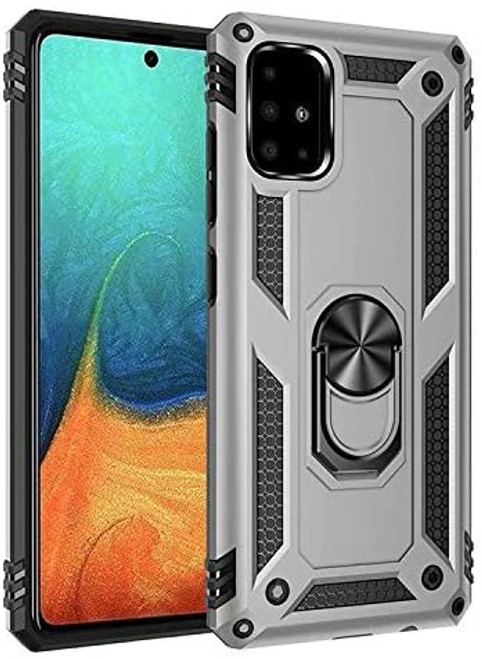 Silver Shock Proof 360 Rotating Metal Ring Stand Case For Galaxy A31 - 1