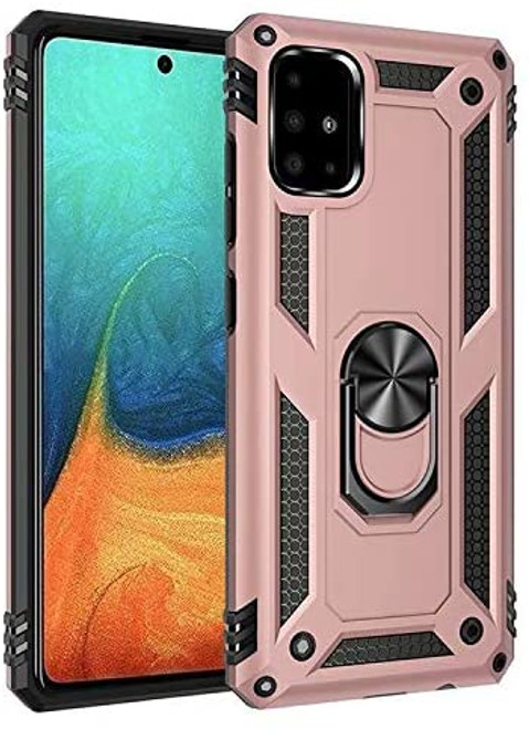 Rose Gold Galaxy A31 Shock Proof 360 Rotating Metal Ring Stand Case - 1