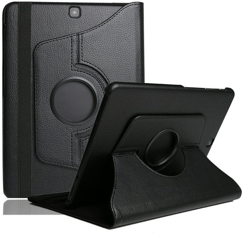 Black 360 Degree Rotating PU Leather Case For Galaxy Tab A 9.7 (2015) - 1