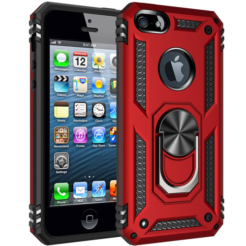 Red Heavy Duty 360 Rotating Metal Ring  Stand Case For iPhone 7 / 8 - 1