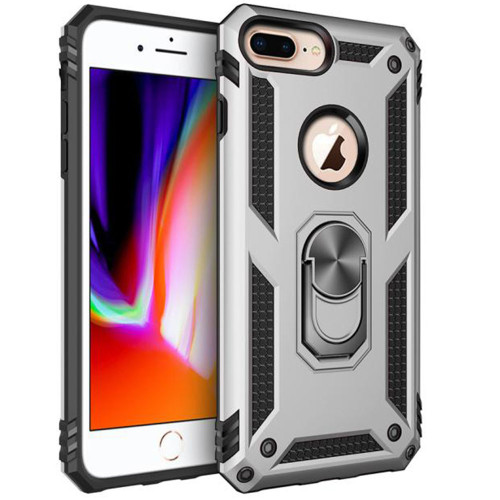 Silver iPhone 7 / 8 Heavy Duty Armor 360 Rotating Metal Ring Stand Case - 1