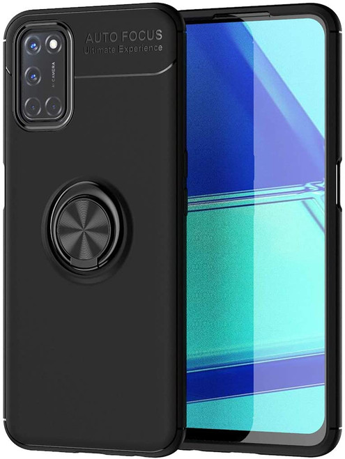 Black Oppo A52 Shock Proof Metal Circle 360 Rotating Ring Stand Case - 1