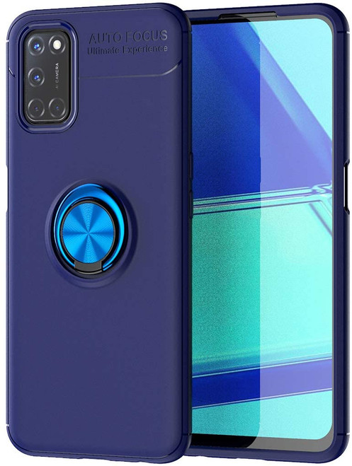 Blue Oppo A52 Slim Shock Proof Metal 360 Rotating Ring Stand Case - 1