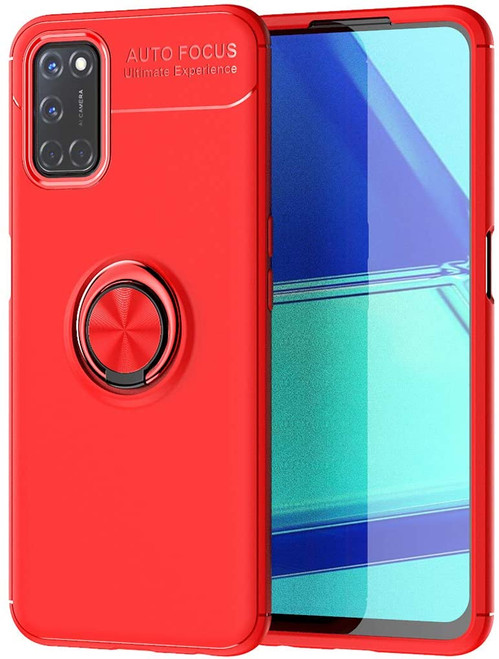 Red Oppo A52 Tough Slim Armor Metal 360 Rotating Ring Stand Case - 1