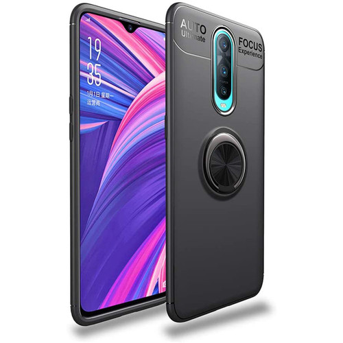 Black Oppo R17 Pro Slim Armor Metal 360 Rotating Ring Stand Case - 1