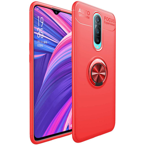 Red Oppo R17 Pro Tough Armor Metal 360 Rotating Ring Stand Case
