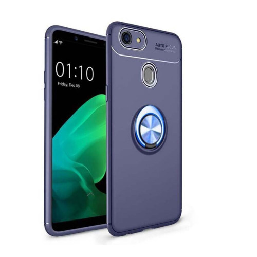 Blue Oppo R15 Pro Slim Armor Metal Circle Holder 360 Ring Stand Case