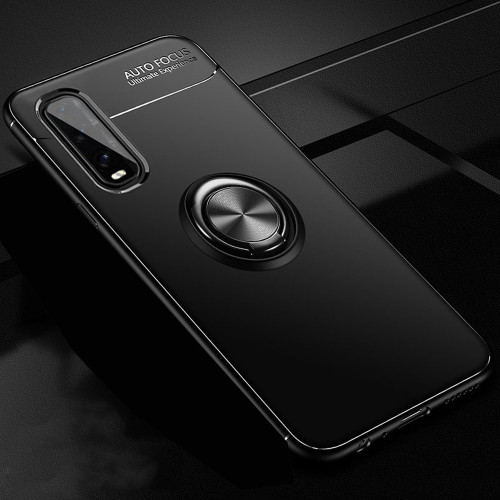 Black Oppo Find X2 Pro Armor Metal Circle Holder 360 Ring Stand Case - 1