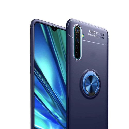 Blue Oppo Find X2 Pro Shock Proof Metal Circle Holder Ring Stand Case - 1