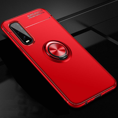 Red Oppo Find X2 Pro Slim Armor Metal Circle Holder Ring Stand Case - 1