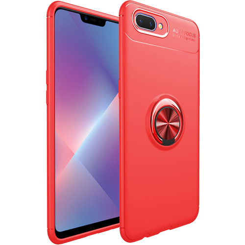 Red Oppo AX5s Tough Armor Metal Circle Holder 360 Ring Stand Case - 1
