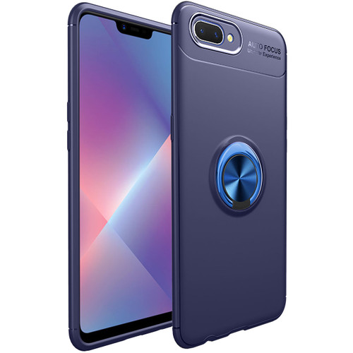 Blue Shock Proof Metal Holder 360 Ring Stand Case For Oppo AX7 - 1