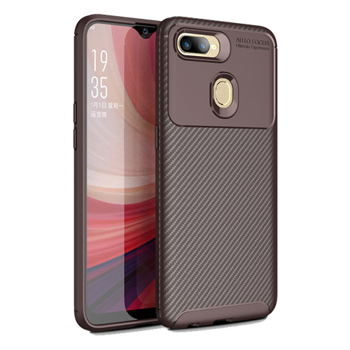 Brown Oppo AX5 / A3S  Flexible Shock Proof Carbon Fibre Case - 1