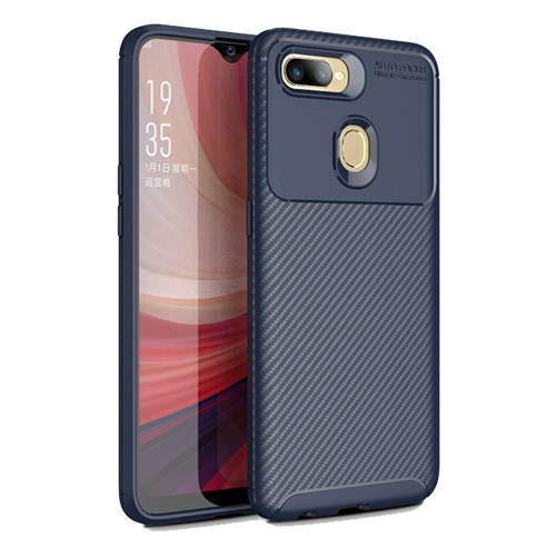 Navy Slim Armor Carbon Fibre Case Cover For Oppo AX5 / A3S - 1