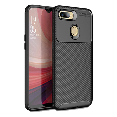 Black Oppo AX5s Flexible Slim Armor Carbon Fibre Protective Case - 1