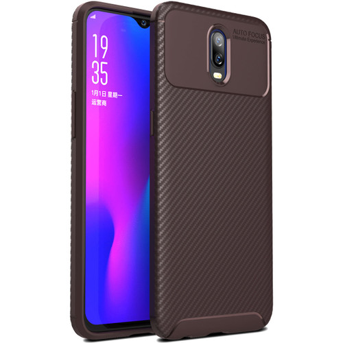 Brown Oppo R17 Shock Proof Armor Carbon Fibre Protective Case - 1