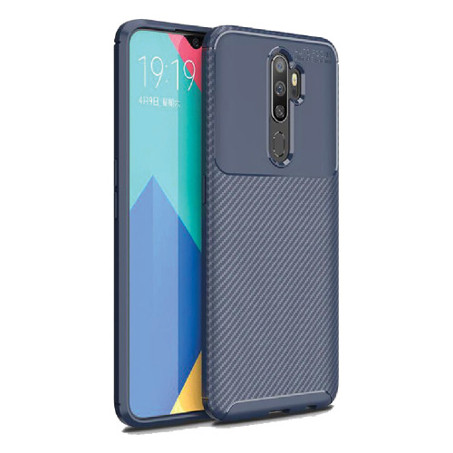 Navy Oppo A5 / A9 2020 Slim Shock Proof Carbon Fibre Case Cover - 1