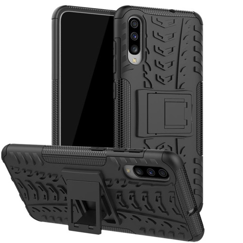 Black Samsung Galaxy A70 Heavy Duty Kickstand Defender Case - 1