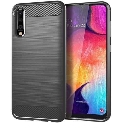 Black Samsung Galaxy A70 Slim Armor Shock Proof Carbon Fibre Case - 1