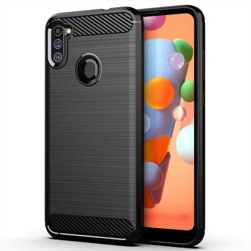 Black Samsung Galaxy A11 Soft Flexible Slim Armor Carbon Fibre Case - 1