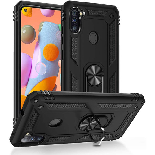 Black Galaxy A11 Shock Proof 360 Rotating Metal Ring Stand Case - 1