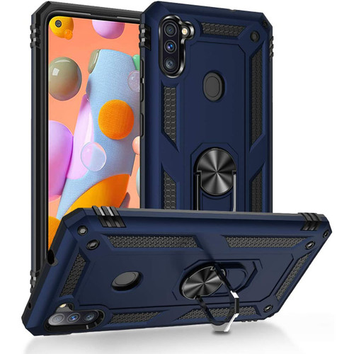 Navy Heavy Duty 360 Rotating Metal Ring Stand Case For Galaxy A11 - 1