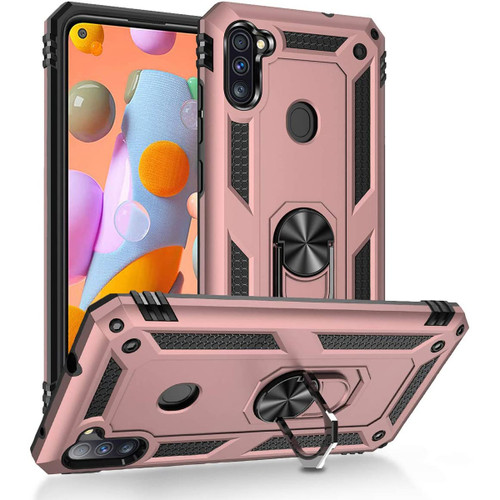 Rose Gold Galaxy A11 Heavy Duty 360 Rotating Metal Ring Stand Case - 1
