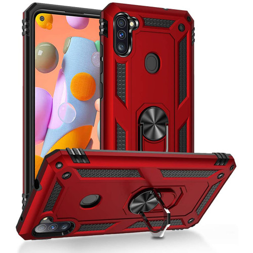 Red Galaxy A11 Shock Proof 360 Rotating Metal Circle Ring Stand Case - 1