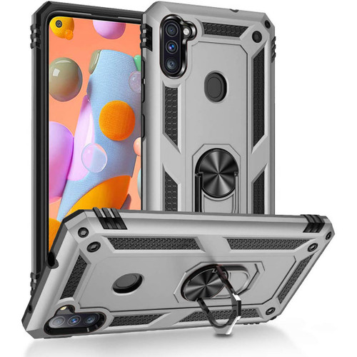 Silver Shock Proof 360 Rotating Metal Ring Stand Case For Galaxy A11  - 1