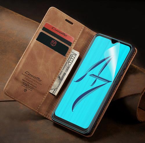 Vintage Brown Oppo AX5s CaseMe Compact Flip  Wallet Case Cover - 1