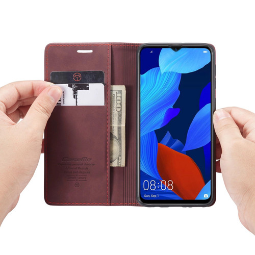 Red Wine Oppo AX5s CaseMe Compact Flip Magnetic Wallet Case - 1