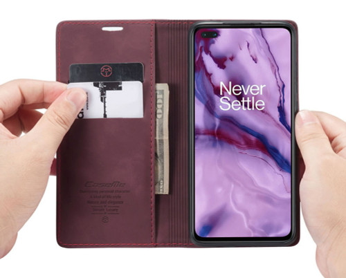 Red Wine Oppo A91 CaseMe Compact Flip Magnetic Wallet Case - 1