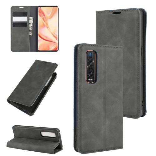 Black Oppo Find X2 Pro CaseMe Slim Flip Premium Wallet Case - 1