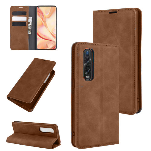 Vintage Brown Oppo Find X2 Pro CaseMe Slim Flip  Wallet Case  - 1