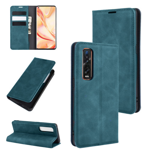 Blue CaseMe Magnetic Slim Flip Wallet Case For Oppo Find X2 Pro - 1
