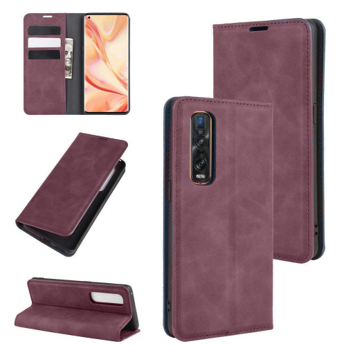 Wine Oppo Find X2 Pro CaseMe Slim Flip Magnetic Wallet Case - 1