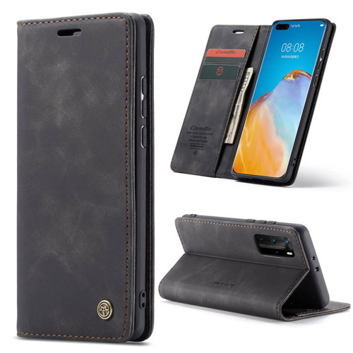 Black Premium CaseMe Thin Magnetic Wallet Case For Huawei P40 Pro  - 1