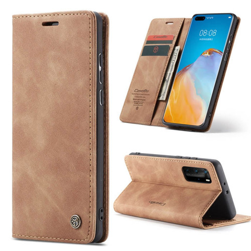 Brown CaseMe Synthetic Leather Wallet Case For Huawei P40 Pro  - 1